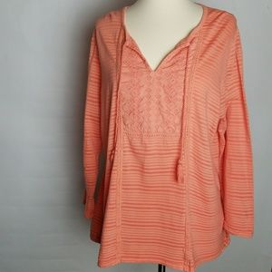 Lucky Brand shadow stripe top embroidered XXL